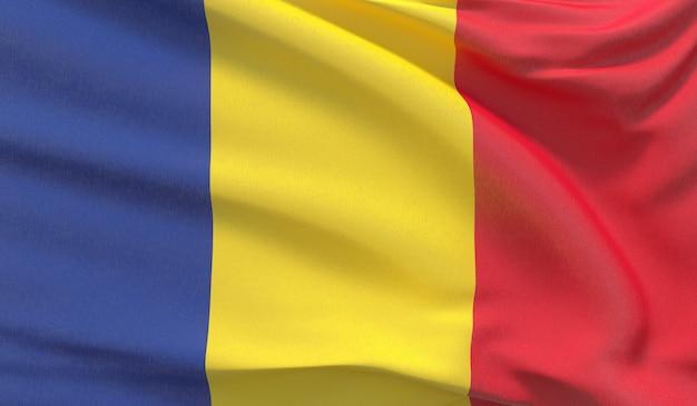 루마니아의 국기를 흔들며. 매우 상세한 클로즈업 3d 렌더링을 흔들었습니다.