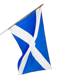 白い背景で隔離のスコットランドの国旗を振る