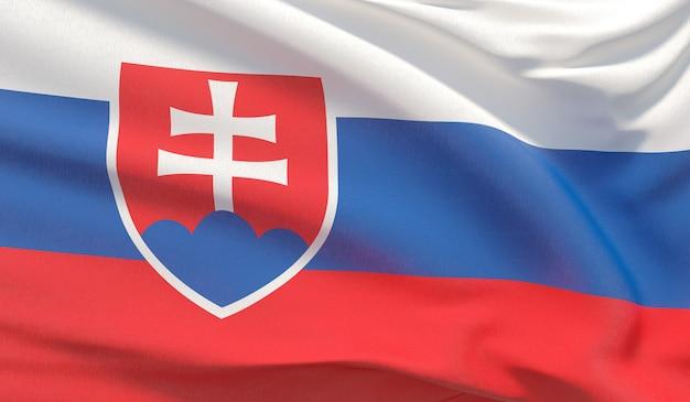 슬로바키아의 국기를 흔들며. 매우 상세한 클로즈업 3d 렌더링을 흔들었습니다.