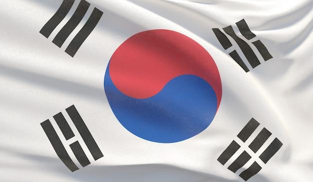 韓国の国旗を振る。波状の非常に詳細なクローズアップ3dレンダリング。