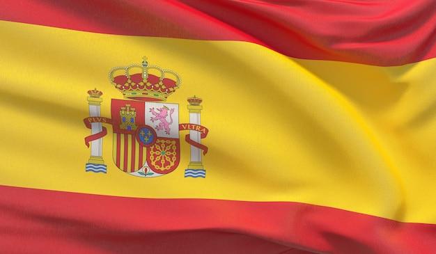 Развевающийся национальный флаг испании. махнул высокодетализированный крупный план 3d-рендеринга.