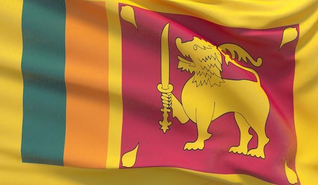 Развевающийся национальный флаг шри-ланки. махнул высокодетализированный крупный план 3d-рендеринга.