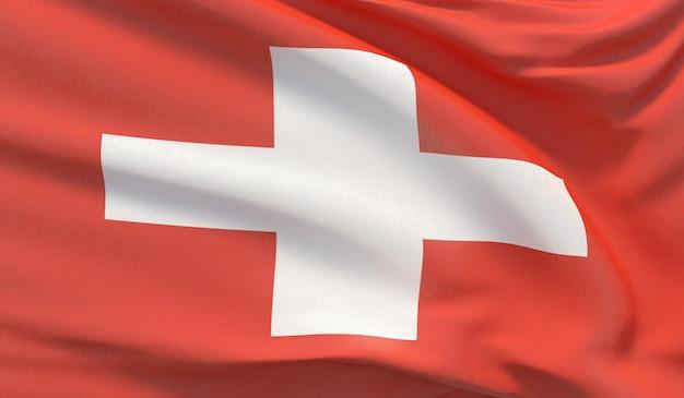 스위스의 국기를 흔들며. 매우 상세한 클로즈업 3d 렌더링을 흔들었습니다.