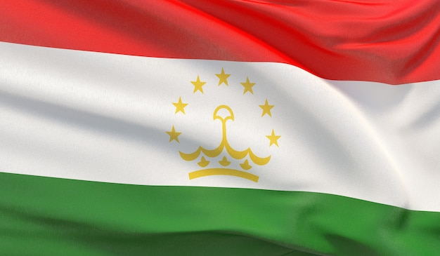 タジキスタンの国旗を振る。波状の非常に詳細なクローズアップ3dレンダリング。