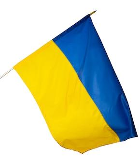 白い背景で隔離ウクライナの国旗を振る