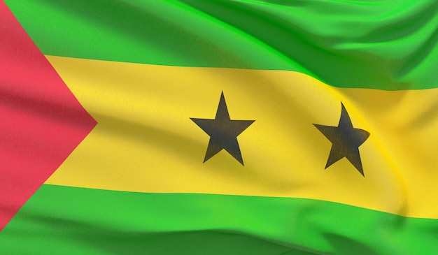 Waving national flag of sao tome and principe. waved highly detailed close-up 3d render.
