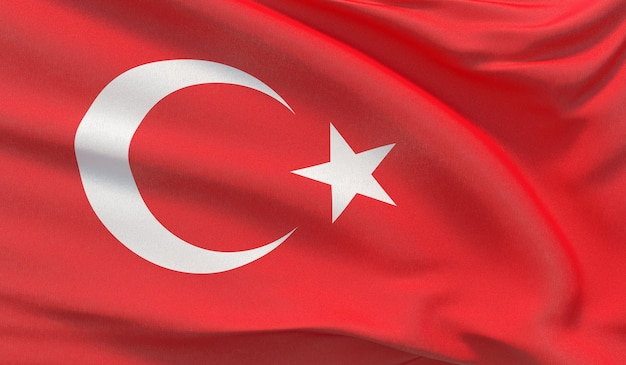 Waving national flag of turkey. waved highly detailed close-up 3d render.