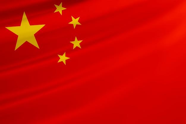 中華民国の国旗を振る。