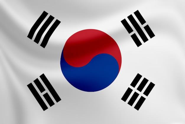 한국 깃발을 흔들며.