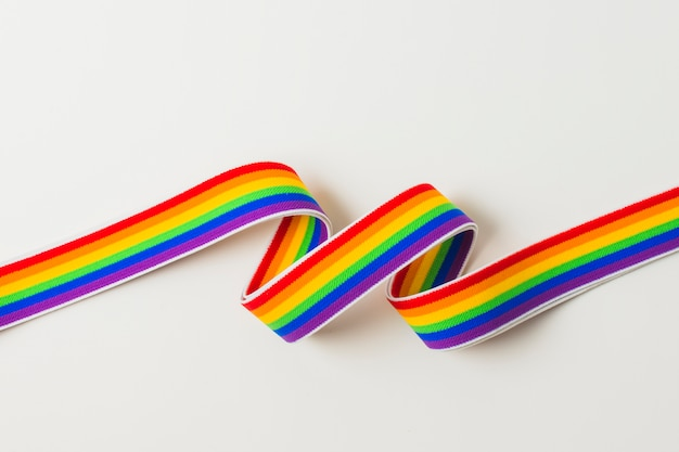 Waving ribbon in lgbt colors