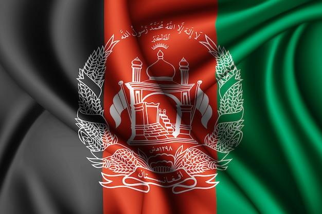 Waving silk flag of afghanistan
