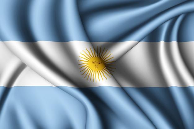 Waving silk flag of argentina