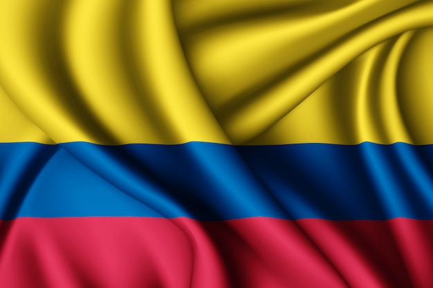 Waving silk flag of colombia