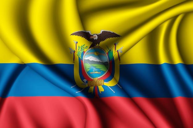 Waving silk flag of ecuador