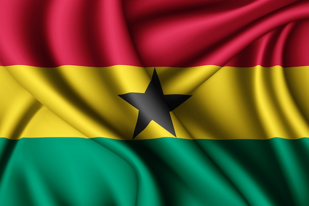 Waving silk flag of ghana