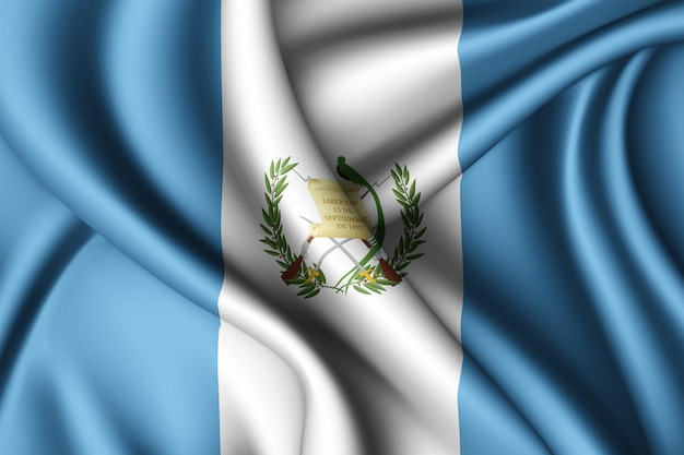 Waving silk flag of guatemala