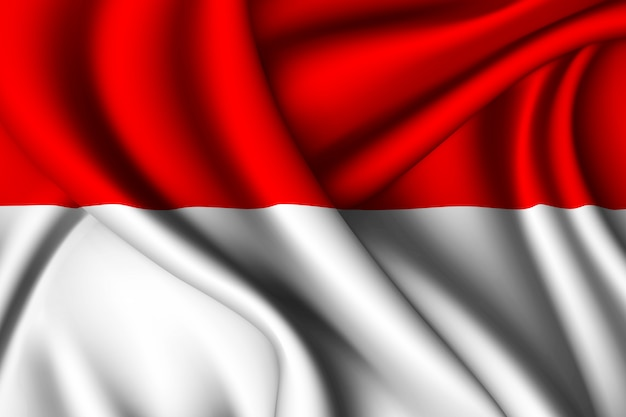 Waving silk flag of indonesia