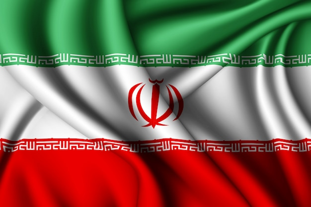Waving silk flag of iran