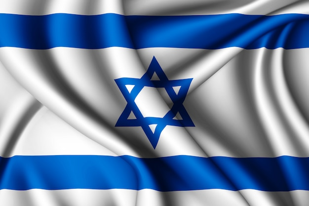 Waving silk flag of israel
