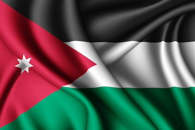 Waving silk flag of jordan