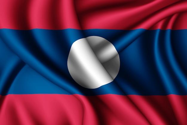 Waving silk flag of laos