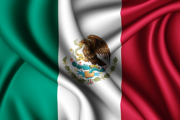Waving silk flag of mexico