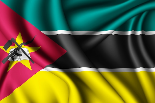 Waving silk flag of mozambique