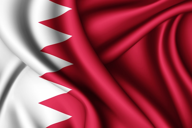 Развевающийся шелковый флаг бахрейна