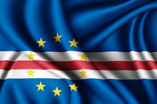 Развевающийся шелковый флаг кабо-верде