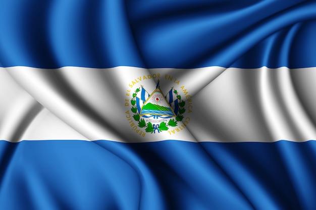 Развевающийся шелковый флаг сальвадора