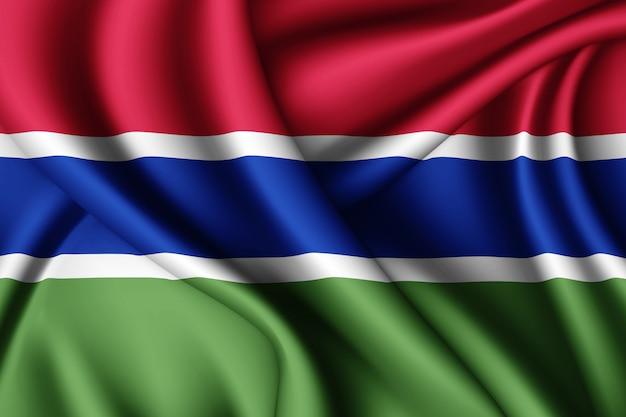 감비아의 실크 깃발을 흔들며