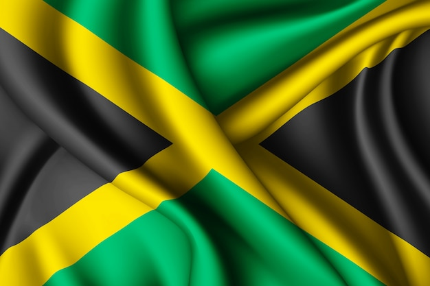ジャマイカのシルク旗を振る