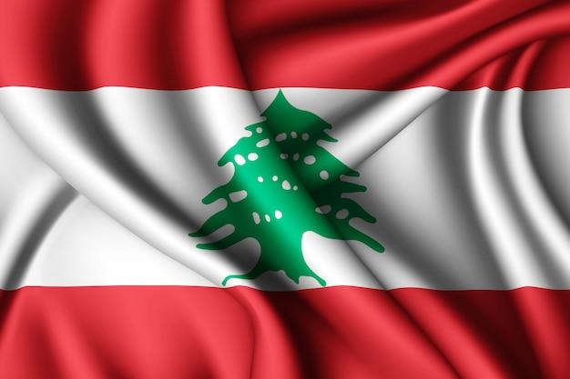 Развевающийся шелковый флаг ливана