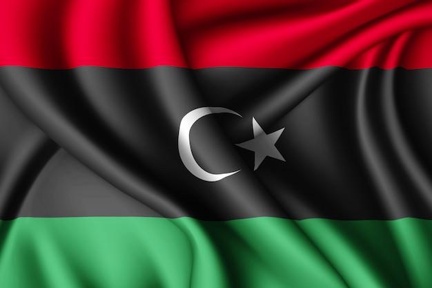 Развевающийся шелковый флаг ливии