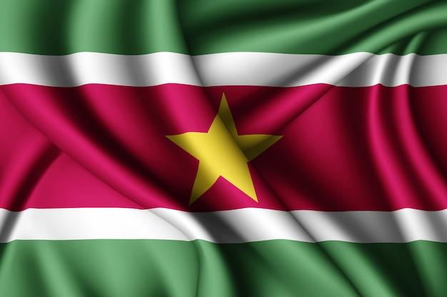 スリナムのシルク旗を振る