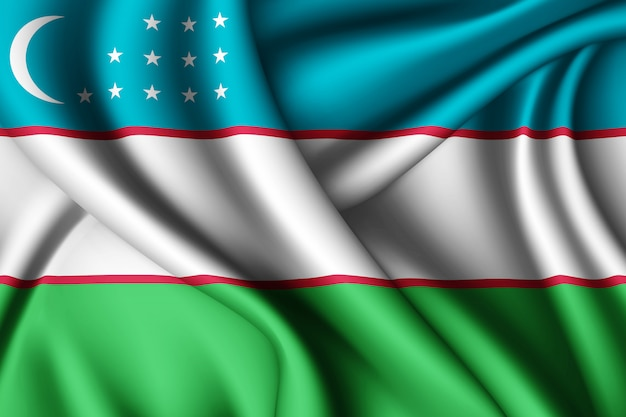 Развевающийся шелковый флаг узбекистана