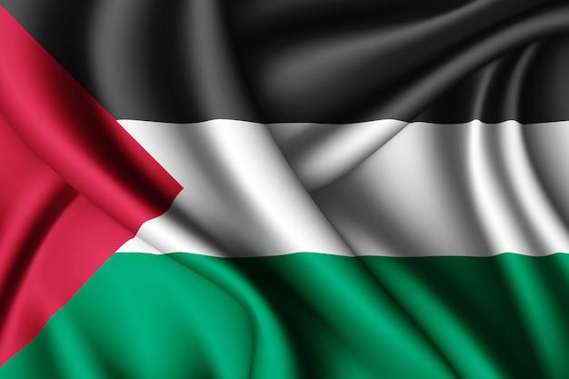 Waving silk flag of palestine