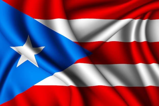 Waving silk flag of puerto rico
