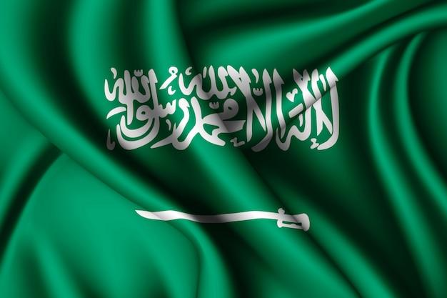 Waving silk flag of saudi arabia