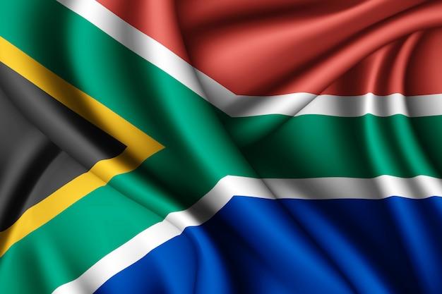 Waving silk flag of south africa