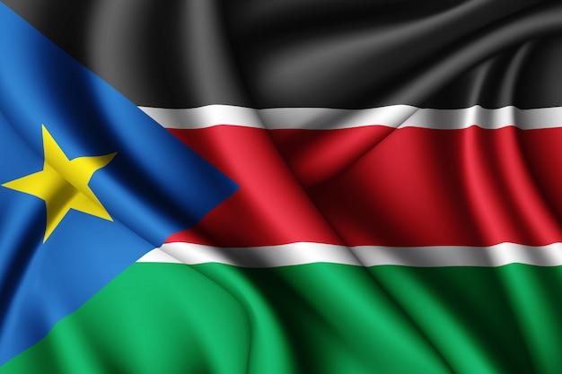 Waving silk flag of south sudan