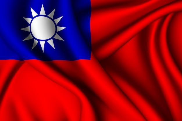 Waving silk flag of taiwan