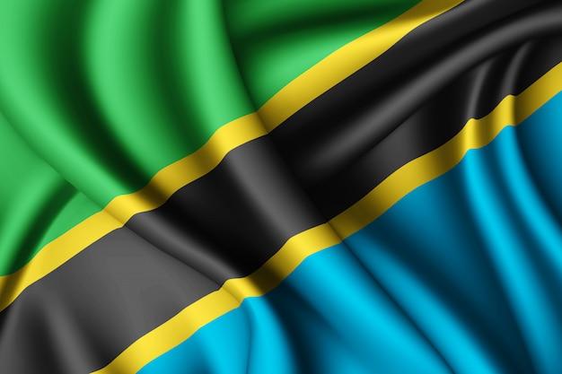 Waving silk flag of tanzania