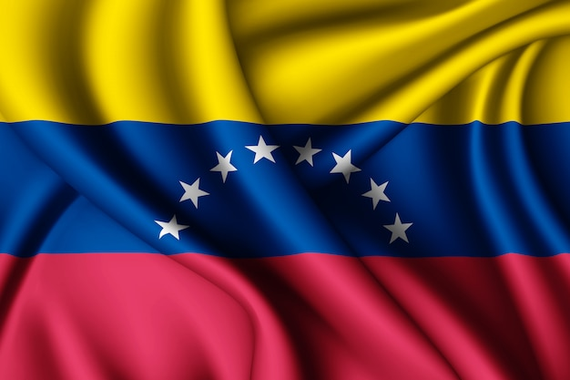 Waving silk flag of venezuela