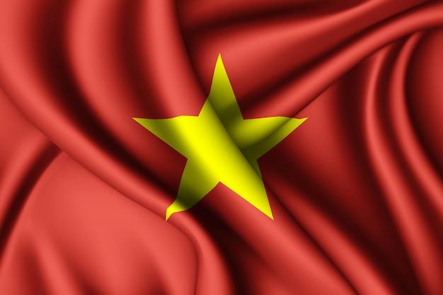Waving silk flag of vietnam