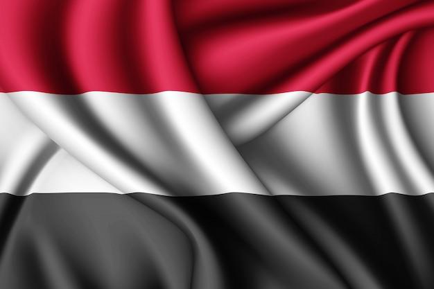 Waving silk flag of yemen