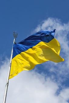 우크라이나의 국가 깃발을 흔들며