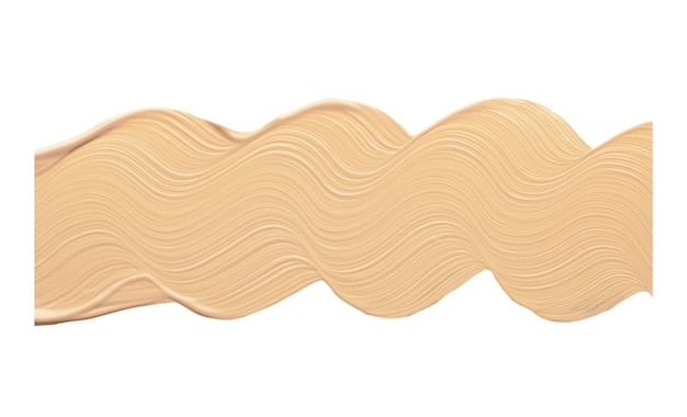 Wavy line of foundation smear isolated bb or cc cream for face tone.
