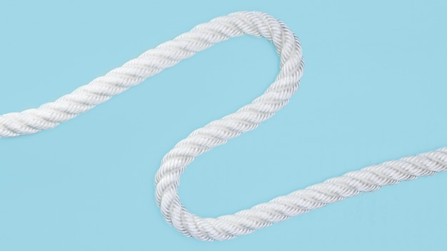 Wavy solid white rope on blue background