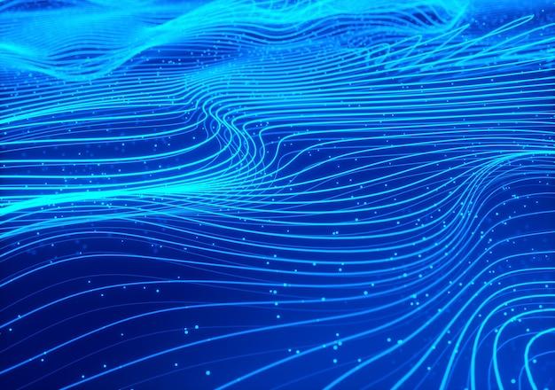 波状スプラインの3dレンダリング。技術の背景デザイン。